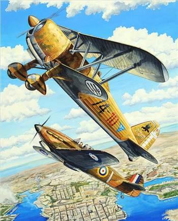 Duel over Malta - CR.42 vs Hurricane.jpg by ScottUehl