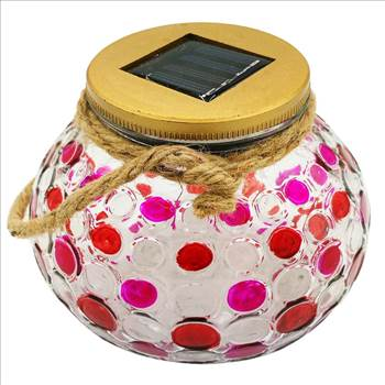 Have great fun and enojy an amazing outdoor hanging solar lights glass jar.and eye-catching pattern.  red decorative solar jar lights outdoor hanging decorative solar jar lantern, hanging solar lanterns outdoor waterproof  Sogrand Industry,Inc,15 Ye