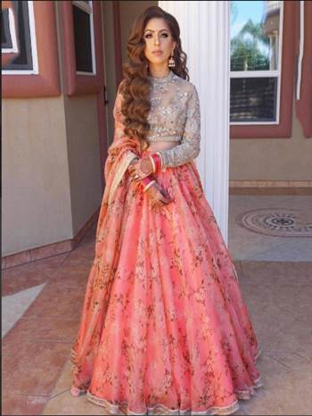 Buy Sabyasachi Pink Organza Bridal Lehenga Choli - Lehenga Choli for Women from Ethnic Plus at Rs 2799. Best Discount ✓ Cash On Delivery ✓ Free Shipping✦ ✓7 Days Return ✓ International Shipping.  Contact Us ethnicplus.in@gmail.com +91 7575882020 +91