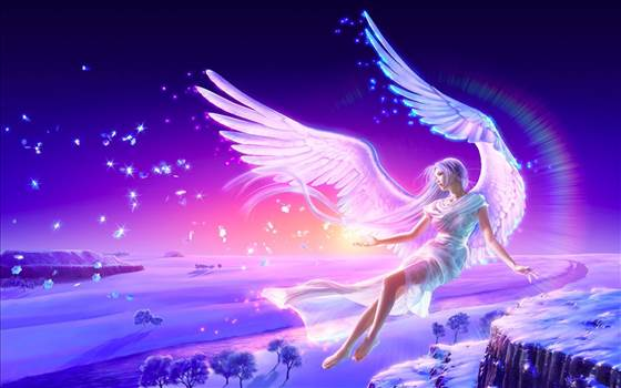 imagen angel-blonde-girl-anime-wings-flying-winter-snow.jpg by Sekai