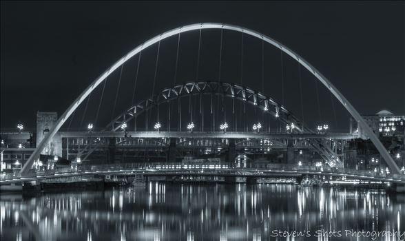 black and white millenium bridge and tyne bridge 6.3.18.jpg by Steven's Shots Photography