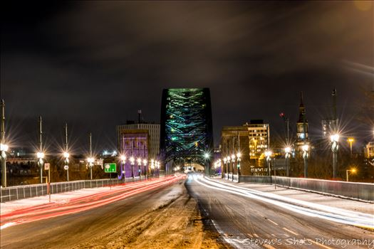 Light trails across a snowy tyne bridge.jpg by Steven's Shots Photography