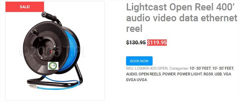 Lightcast Open Reel 400′ audio video data ethernet reel by lightcastretractablereels