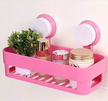 Plastic Bathroom Shelf Kitchen Storage Box Organizer Basket with Wall Mounted Suction Cup Pink.jpg by saysal