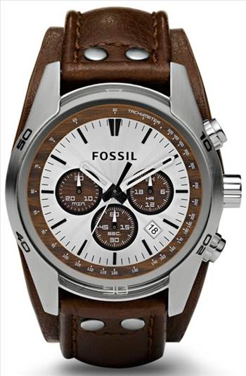 Fossil Cuff Chronograph Tan Leather CH2565 Mens Watch.jpg -