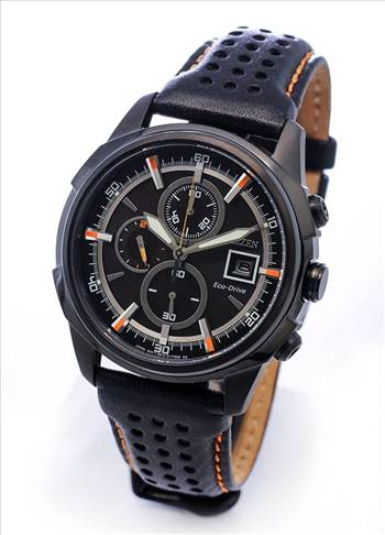 Citizen Eco Drive Black Leather Chronograph CA0375-00E Mens Watch.jpg -