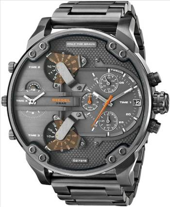 Diesel Daddies Gunmetal Ion-Plated Chronograph Four Time Zone Dial DZ7315 Mens Watch.jpg -