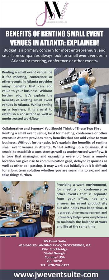 Benefits Of Renting Small Event Venues in Atlanta: Explained! by Jweventsuite