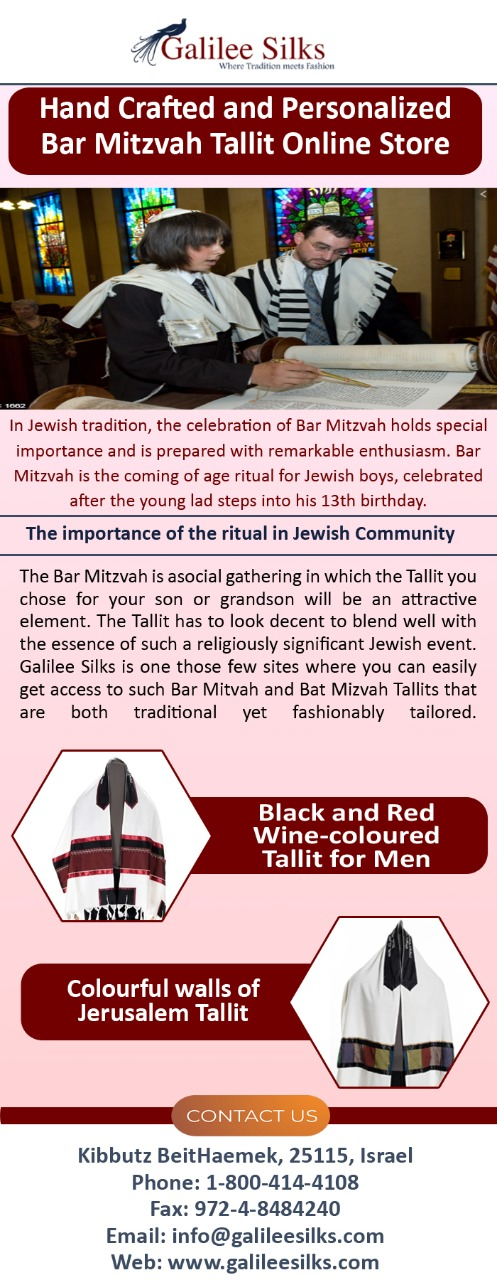 Hand Crafted and Personalized Bar Mitzvah Tallit Online Store In Jewish tradition, the celebration of Bar Mitzvah holds special importance and is prepared with remarkable enthusiasm.  For more details, visit this link: https://bit.ly/35u5SsQ  by amramrafi