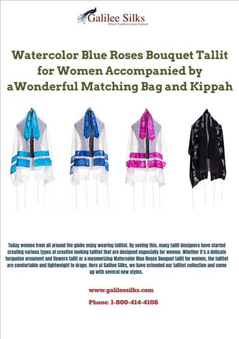 Watercolor Blue Roses Bouquet Tallit for Women Accompanied by a Wonderful Matching Bag and Kippah - You can be overwhelmed by the amazing selection of tallit colors available on the market. For more details, visit: https://bit.ly/2sqyT9P