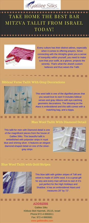 Take home the best Bar Mitzva tallit from Israel Today.jpg - The best Bar Mitzva tallit from Israel that are worth a buy are here. Tallit for men at Galilee Silks are hand-made and hand-printed. Find them NOW! For more details, visit this link: http://www.123articleonline.com/articles/1040899/take-home-the-best-bar