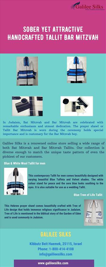 Sober Yet Attractive Handcrafted Tallit Bar Mitzvah - Sharpen your knowledge about Bar Mitzvah here. The fine examples of Tallit Bar Mitzvah from Galilee Silks given are worth rolling your eyes on. For more details, visit this link: https://www.galileesilks.com/collections/bar-mitzvah-tallit\r\n