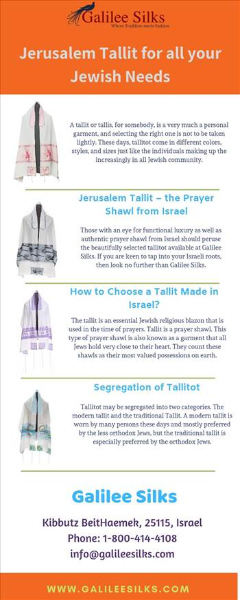 Jerusalem Tallit for all your Jewish Needs - The modern, classic and traditional Jerusalem tallit or Israeli tallitot are made of wool, silk, and other materials, in different colors, sizes, and styles. For more details, visit this link: https://bit.ly/2EHILP4\r\n