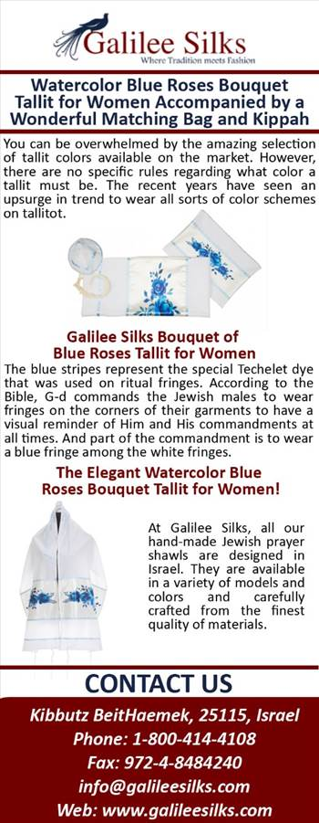 Watercolor Blue Roses Bouquet Tallit for Women Accompanied by a Wonderful Matching Bag and Kippah by amramrafi