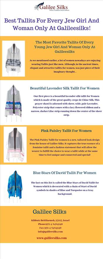 Best Tallits For Every Jew Girl And Woman Only At Galileesilks!(1).jpg - With the increased numbers of women wearing Tallits nowadays, having a convenient store that specialize in Tallits for women can come real handy. For more details, visit this link: https://bit.ly/2Qw6tkY