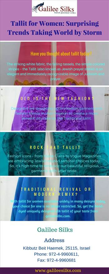 Tallit for Women Surprising Trends Taking World by Storm.jpg - Jewish prayer shawl is getting its moment of glam. With fashion trends changing rapidly, embrace yourself with contemporary designed modern Jewish tallit today. For more details, visit this link: https://silktallit.wordpress.com/2018/04/10/tallit-for-wome