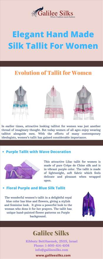 Elegant Hand Made Silk Tallit for Women - At Galilee Silks, we strive to bring exclusive tallitot collections that are a piece of perfection in the world of Judaica art. For more details, please visit this link: https://bit.ly/2P1RS2S
