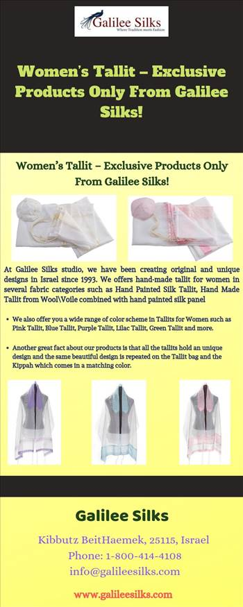 Women's Tallit – Exclusive Products Only From Galilee Silks! - There was a time when women were not allowed to wear tallit. Today, it has gained a lot of popularity. For more details, visit this link: https://bit.ly/346y4AM\r\n
