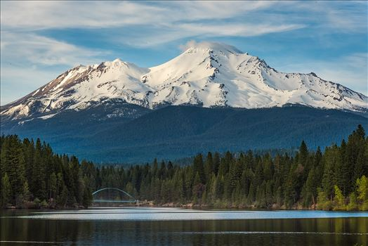 Mt Shasta from the Lake. - Mt Shasta view and pedestrian footbridge from the lake