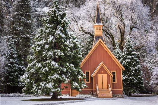 The Little Yosemite Church in Winter by Dawn Jefferson