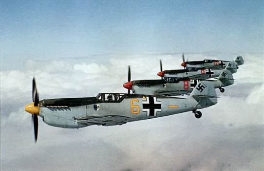 P129_four_Me109s_in_formation_flight.jpg by jamieduff1981