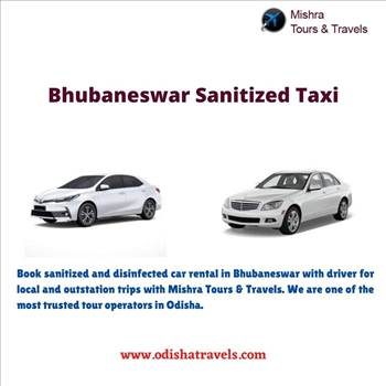 Bhubaneswar sanitized taxi by Odishatravels