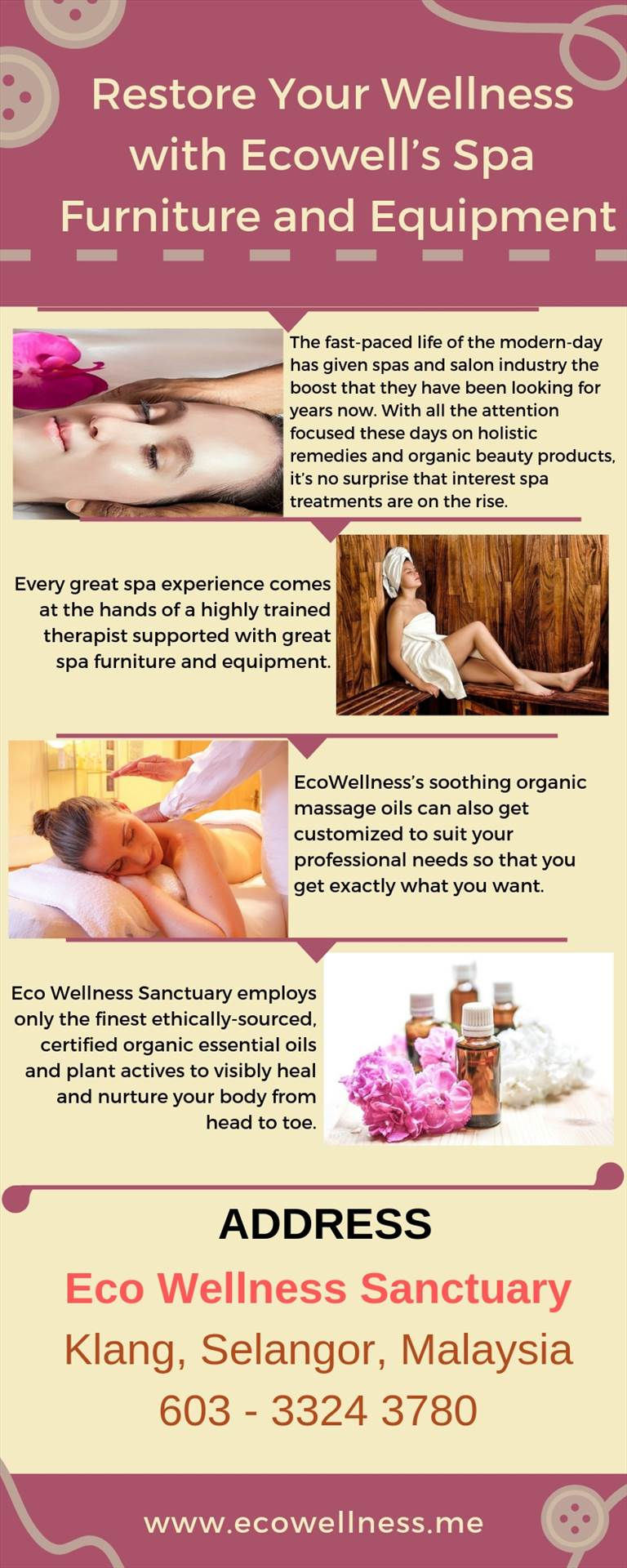 Restore Your Wellness with Ecowell's Spa Furniture and Equipment.jpg Eco Wellness Sanctuary brings you an exclusive range of spa therapies using nature's healing powers to awaken your bliss and nurture your mind, body, and spirit. For more details, visit: https://bit.ly/2DtaSld by ecowellness15