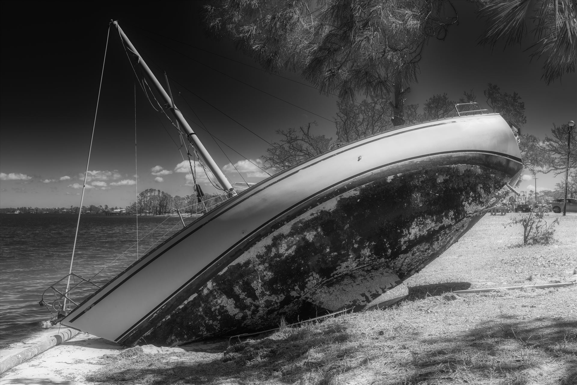 shipwreck hurricane Michael 6 months later. Boats still remain washed up on land. Panama City, Florida 04/10/2019 by Terry Kelly Photography