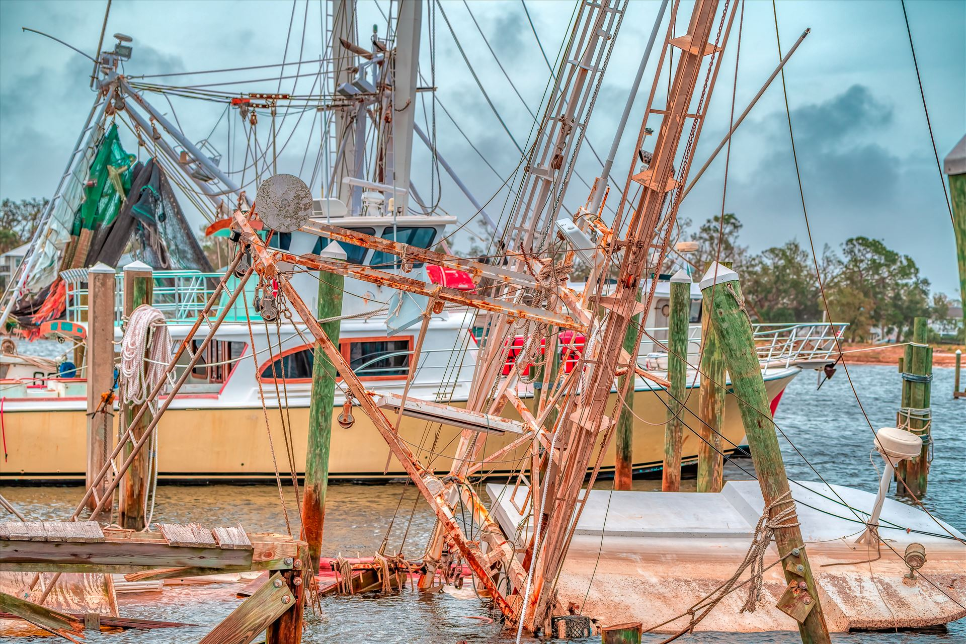 Hurricane Michael shrimpboat sunk, dock damaged by Terry Kelly Photography