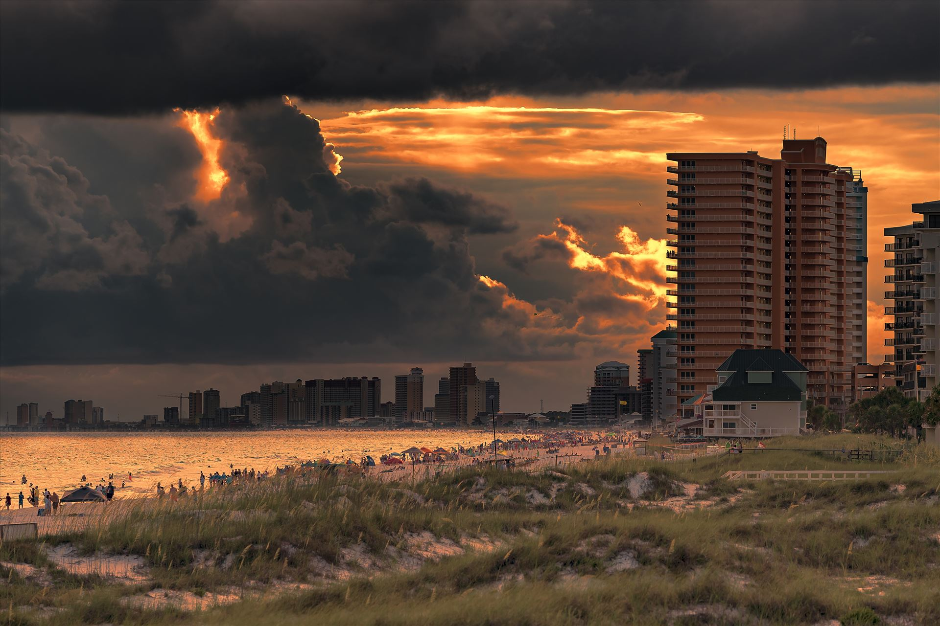 Stormy sunset thomas drive area of panama city beach florida 8500414.jpg Stormy sunset along the beaches of Thomas Drive Panama City, Beach Florida. Photo taken from the pier at St. Andrews State Park. by Terry Kelly Photography