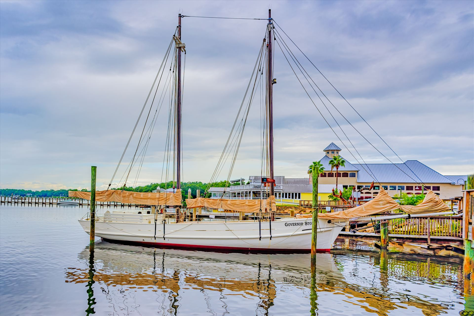 Governor Stone (schooner) Panama City, Florida, USA. September 16, 2016. Governor Stone is a historic schooner, built in 1877, in Pascagoula, Mississippi. In October 2018, Governor Stone capsized at her dock during Hurricane Michael. by Terry Kelly Photography