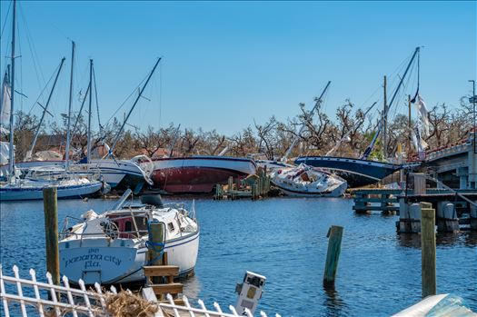 Hurricane Michael - Hurricane Michael. Boats destroyed in Massalina bayou, Panama City, Florida