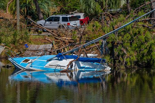 Hurricane Michael - Massalina bayou, Panama City, Florida. sunken sailboat from hurricane Michael