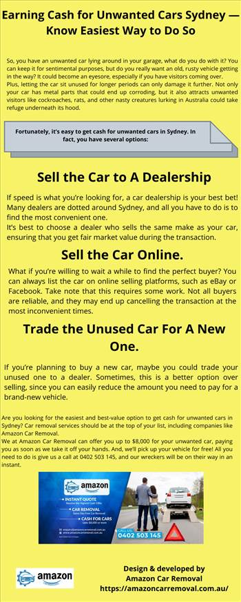 Earning Cash for Unwanted Cars Sydney — Know Easiest Way to Do So.png by amazoncarremoval