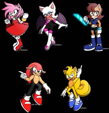 Amy, Sally, Mighty, Ray and Rouge as supported characters in early 2020 stories.png by shwapneel1999