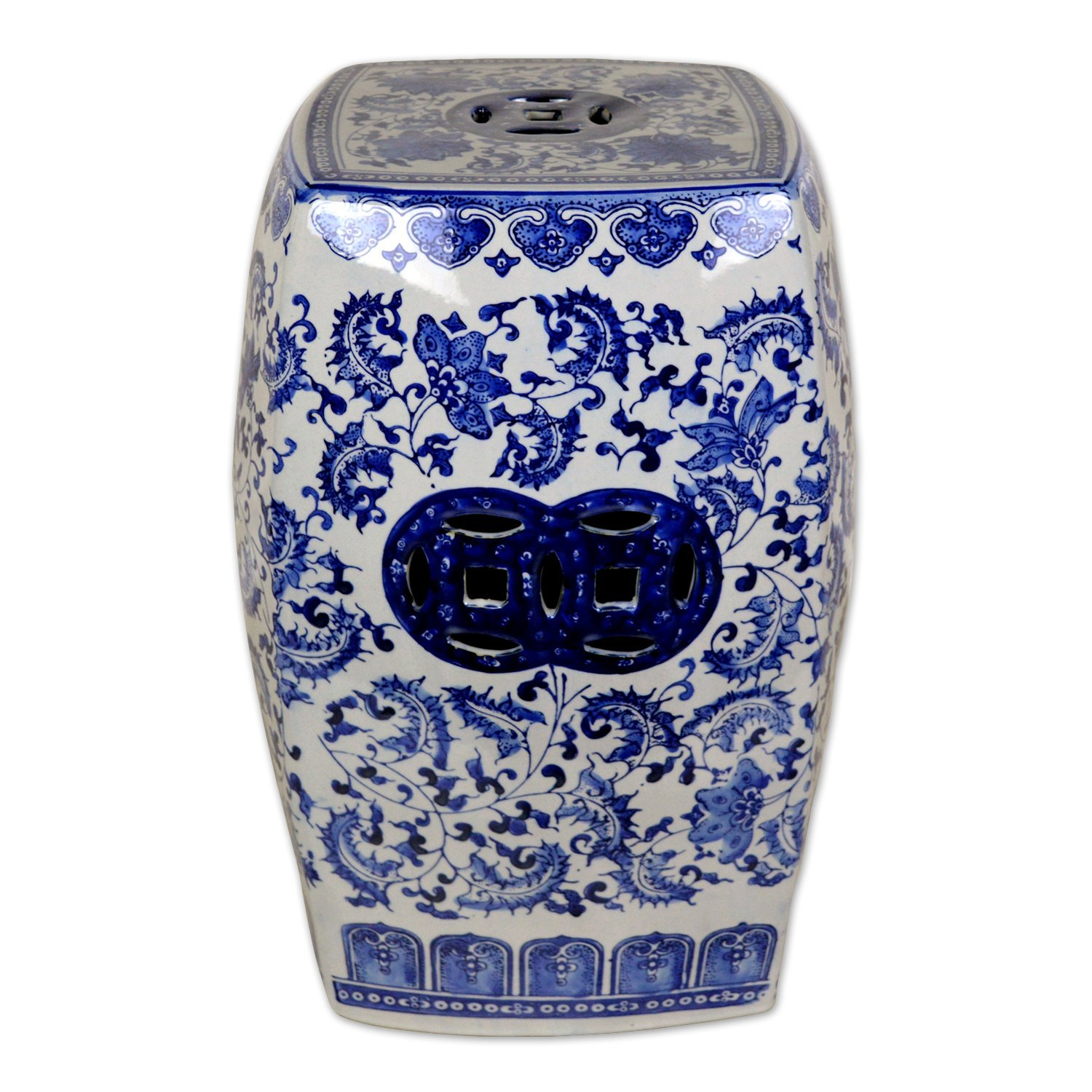TransSino Treasures 18 inch Chinese Square Porcelain Garden Stool with Floral and Decorative Design.jpg  by TransSinoTreasures