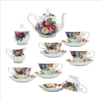 TransSino Treasures Fine Bone China 15 Piece Coffee Set Vivid Blossom Motif.jpg by TransSinoTreasures