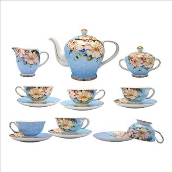 TransSino Treasures Fine Bone China 15 Piece Coffee Set High Capacity Floral Motif in Blue.jpg by TransSinoTreasures
