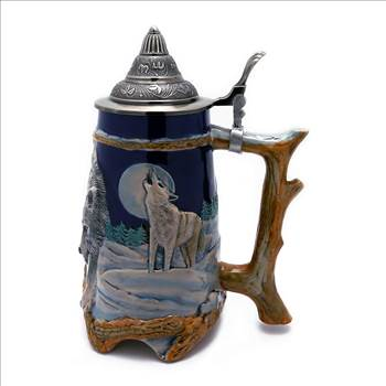TransSino Treasures 0.95 Liter Engraved Beer Stein with Relief Wolf Image.jpg -