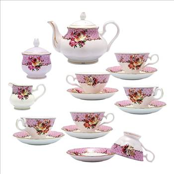 TransSino Treasures Fine Bone China 15 Piece Coffee Set Rose on Decorative Patterns.jpg by TransSinoTreasures