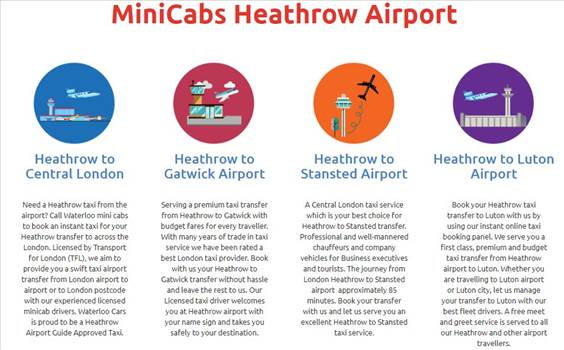 Need a taxi Heathrow from London? Book Heathrow taxi services from Waterloo to Heathrow airport London online at affordable price. Book  online Airport Transfers & Minicabs.