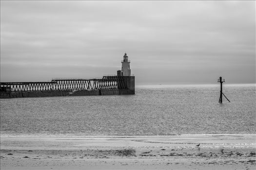 Blyth Pier and Lighthouse in Mono by Graham Dobson Photography
