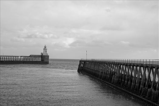 Blyth Pier and lighthouse, Northumberland, in B/W by Graham Dobson Photography