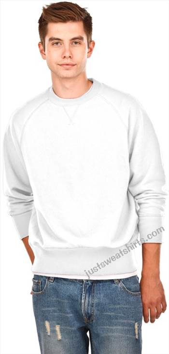 Crewneck Men's Fine French Terry White 100% Cotton Stylish raw edge V neck Durable 1 x 1 Rib Neckline by Justsweatshirts