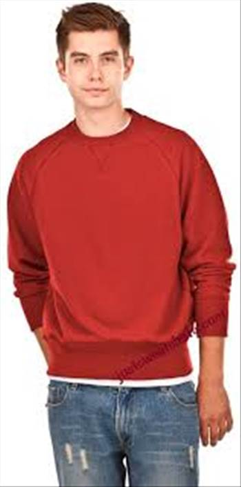 Crewneck Men's Fine French Terry Warm Red 100% Cotton Stylish raw edge V neck Durable 1 x 1 Rib Neckline.jpg by Justsweatshirts