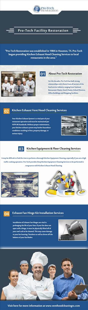 We offer commercial kitchen exhaust hood cleaning, restaurant equipment & floor cleaning, exhaust fan hinge kit installation & exhaust system cleaning services in Houston, TX. We understand your needs so that you can focus on more important matters. https