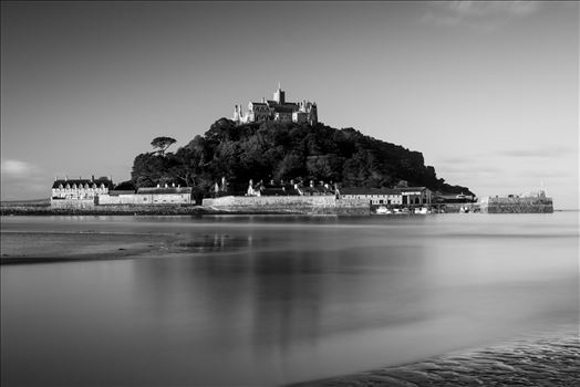 Reflection of St. Michael - This image was shot on location at St. Michael\u0027s Mount in Cornwall, UK and is a monochrome version of \u0027St. Michael\u0027s Blues\u0027.