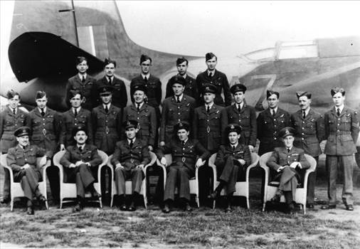 Turbinlite Havoc and Hurricane pilots and aircrew of 538 Squadron (formerly 1459 Flight RAF) pose with one of their re-camouflaged Turbinlite17.jpg by Tony