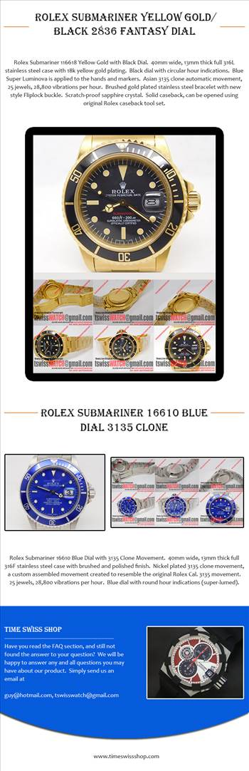 Rolex Submariner Yellow Gold-Black 2836 Fantasy Dial.jpg by Timeswissshop