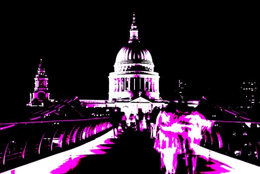 St Pauls Cathedral, The Millennium Bridge London.jpg by PopArtMediaProductions